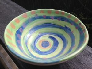 Green and blue spiral bowl